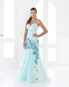 $548.00 Blush 9332 Dress Sophisticated Ombre Tulle Gown  Teal wedding dress with teal blue embroidery