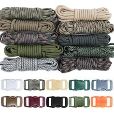 West Coast Paracord Survival Paracord Combo Crafting Kit with 10 Colors of 500lb Cord and 10 buckles - Zesty Camo. For product & price info go to:  https://all4hiking.com/products/west-coast-paracord-survival-paracord-combo-crafting-kit-with-10-colors-of-500lb-cord-and-10-buckles-zesty-camo/