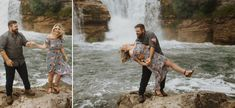 Engagement Photos at Lundbreck Falls in Crowsnest Pass with the couples' dogs in the pictures. Photos by Havilah Heger Photography Engagement Shoots, Wedding Engagement, Wedding Day, Banff National Park, My Favorite Part, How Beautiful, I Love Dogs, Big Day, Photo S