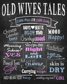 Customized Old Wives Tales Sign - Gender Reveal Printable on Etsy, $12.00