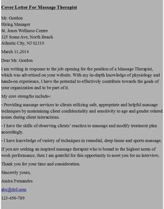cover letters letter example massage therapy - Masseur Cover Letter