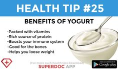 """ Benefits of yogurt "" Yogurt Benefits, Heath Tips, Daily Health Tips, You Loose, Online Apps, Protein Sources, Immune System, Google Play, Vitamins"