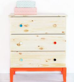 IKEA Brakig dresser done eco-chic. Low-voc paint for baby's room. #nursery