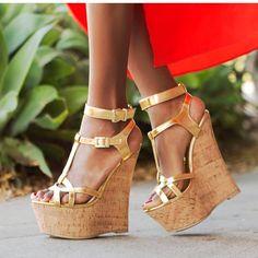 Moraima Snc Gold Metallic Leather T-strap Wedge Sandals Sexy Peep Toe Platform Woman Shoes Ankle Strap Gladiator Sandal Gold Sandals, Wedge Sandals, Wedge Shoes, Gladiator Sandals, Wedge Pump, Strap Sandals, Women's Shoes, Pump Shoes, Open Toe High Heels