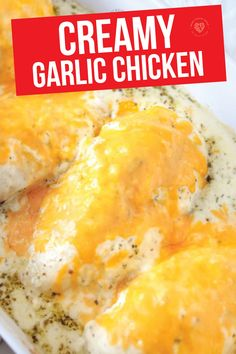 This recipe for creamy garlic chicken tastes AMAZING and it's so simple to make! Tender and juicy chicken covered in a mouthwatering, creamy, cheesy topping. Such a quick and easy dinner, uses simple ingredients,  and the whole family will love it! Duck Recipes, Garlic Recipes, Turkey Recipes, Recipes Dinner, Low Carb Recipes, Chicken Recipes, Cooking Recipes, Creamy Garlic Chicken, Smart School