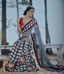 #Black and #white color #Georgette designer #saree #sari