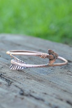 Arrow Bracelet // Tribal Arrow Bangle // Boho Bangle // Rustic Arrow Jewelry // Gift for Her // Handmade by Korey Burns on Etsy, $22.00
