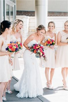 Short bridesmaid dress idea - knee-length, blush bridesmaid dresses {Kay + Bee}