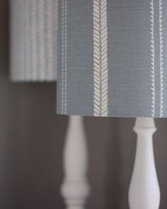 Lampshades in Slade Stripe and Mottram Meadow Dew from www.zoeglencross.com Curtain Fabric, Linen Fabric, Brown And Blue Living Room, Hand Sketch, Scatter Cushions, Hand Designs, Natural Linen, Beautiful Interiors, Soft Furnishings