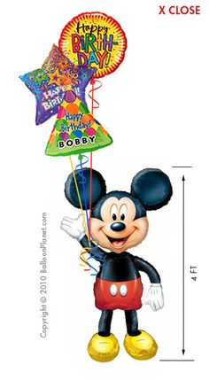 Mickey Airwalker Balloon Bouquet 4 Balloons