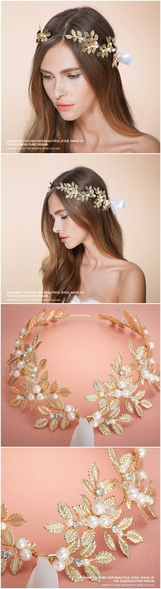 leaves inspired gold bridal headbands wedding accessories EWAHP032