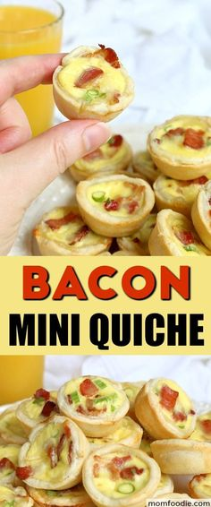 Mini Quiches are so fun and versatile and bacon. well, bacon is just plain awesome! So today I have a Bacon Mini Quiche recipe for you that is perfect for breakfast or brunch, but is also well suited as finger food for any gathering. Bacon Breakfast, Breakfast Quiche, Best Breakfast, Breakfast Casserole, Breakfast Ideas, Breakfast Recipes, Mini Quiche Recipes, Bacon Recipes, Fun Recipes