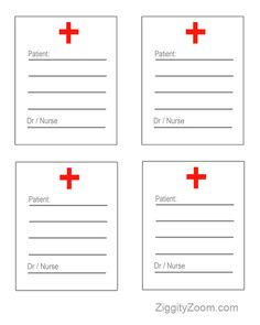 Doctor/Nurse Prescripion play sheets find a way to put plastic over them so the prescription can be wiped off and reused!