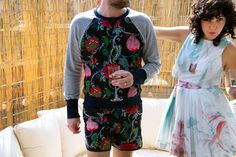 Lookbook Spring 2014 - SWORDS-SMITH Womenswear: Morgan Carper Azalea Dress Jewelry: Arielle de Pinto Tiger Stripe Necklace  Menswear: Robinson les Bains Hungarian Flowers Smith Sweatshirt and Cambridge Swim Trunks