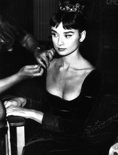 """""""Audrey Hepburn on the set of """"War and Peace"""" dir. King Vidor (1956)."""