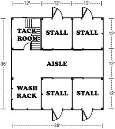 Horse barn plan :) I would take out a stall and move the wash rack over one then I would add a feed room. I would also add a paddock to both of the stalls on the left side. Dream Stables, Dream Barn, Horse Stables, Horse Farms, Goat Barn, Farm Barn, Cattle Barn, Barn Layout, Horse Farm Layout