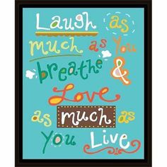 Breathe & Love Colorful Inspirational Hand Drawn Doodles Typography Blue & Orange, Framed Canvas Art by Pied Piper Creative, Brown