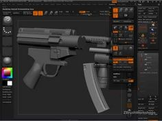 "Sculpting MP5-K in ZBrush 4    more importantly, technique from a Meats Meyers tutorial for 'extruding' a form is to store morph target and then hit - ""CREATE DIFFERENCE"". Seen at 9:10 #zbrush #tutorial"