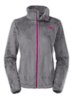 Women's Osito 2 Jacket in Grey and Luminous Pink by The North Face is a classic fleece jacket for warmth in cool conditions and feature soft Silken high-pile raschel fleece, a relaxed fit, hardface st