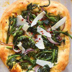 Broccoli Rabe Pizza with Hazelnut Dough