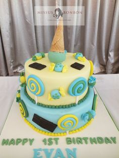 An ice cream and candy themed cake was the piece de resistance.