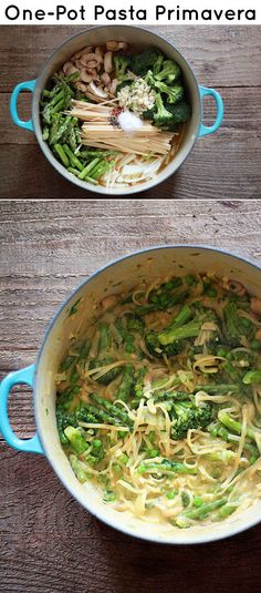 One Pot Pasta Primavera.. Just made this today used chicken broth instead of vegetable and added spinach. So good!
