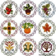 Fall Circles Machine Embroidery Designs - $9.99 : Golden Needle Designs, Great machine embroidery designs