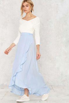 Leigh Ruffle Maxi Skirt - Blue - Clothes | Maxi