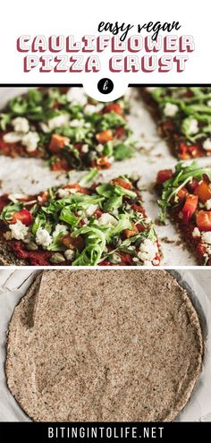 Crispy, light, and healthy, you'll be able to indulge in this grain-free, vegan cauliflower pizza crust without feeling guilty at all! And it's easy to make Vegan Pizza Recipe, Vegan Bread, Delicious Vegan Recipes, Pizza Recipes, Dinner Recipes, Vegan Cauliflower Pizza Crust, Unprocessed Recipes, Vegan Meal Prep, Vegan Dishes