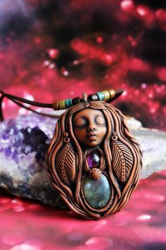 Labradorite and Amethyst Goddess Necklace Handcrafted by TRaewyn
