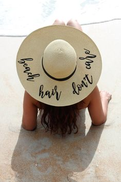 Floppy Hat Embroidered Beach Hair Don't Care by LifeHasJustBegun