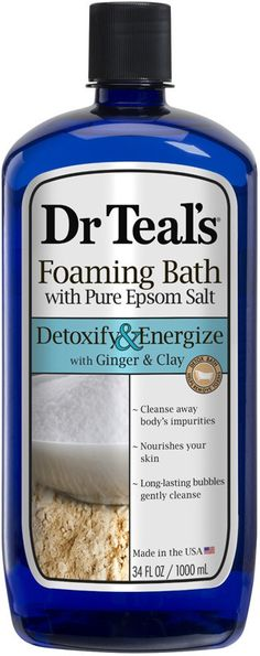 Absolutely love this bubble bath! Dr. Teals Detox Ginger & Clay Foaming Bath. Dr teals foaming bath transforms your bath into a relaxing spa with essential oils to soothe the senses, revitalize tired achy muscles and help provide relief from stress.#Affiliate