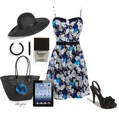 Black & Blue Sundress, created by elayne-forgie on Polyvore