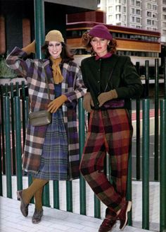 L'Officiel magazine 1970s . I saw lately color checkered coat making a comeback.