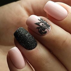 Beautiful new year's nail, Black and pink nails, Christmas manicure on short nails, Evening nails, Evening nails by gel polish, Evening short nails, Glitter nails ideas, New years nails