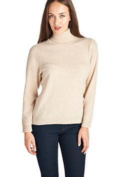 High Style Womens 100 Cashmere Long Sleeve TurtleNeck Sweater 1303 Beige XL ** Details can be found by clicking on the image. (This is an affiliate link)