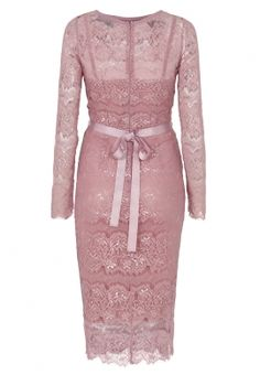 Body con filigree lace knee length bridesmaid dress. Matching grosgrain and diamanté tie belt. Colour match strappy stretchy sculpting slip.