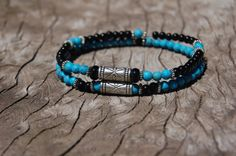 Turquoise Onix and Silver Bracelet by EsquivelDesigns on Etsy, $30.00