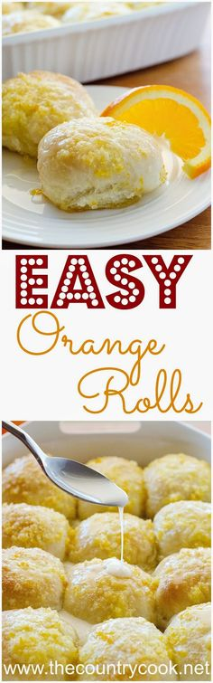 SO GOING TO TRY THESE SOON! Easy Orange Rolls from Life in the Lofthouse. Made easy by using frozen dinner rolls. These are so impressive but could not be easier and the glaze is to die for! Croissants, Easy Desserts, Dessert Recipes, Frozen Dinner Rolls, Frozen Bread Dough, Orange Rolls, Cupcakes, Pizza, Country Cooking
