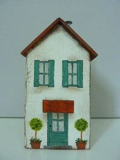 Holzhaus Weihnachtshaus Giebelhaus Haus aus massivem Holz Weihnachten Dekohaus