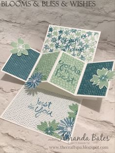The Craft Spa - Stampin' Up! UK independent demonstrator : Blooms and Bliss Pop Up Panel Card