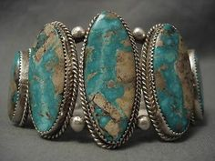 THE BEST VINTAGE NAVAJO ANDY JOHNSON TURQUOISE SILVER BRACELET