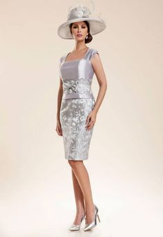 Silver and lilac knee length dress featuring elegant design on bottom and waist from Frocks