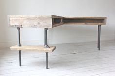 Reclaimed Scaffolding Board Industrial Chic Corner L-Shaped Desk with Built In Storage and Steel Legs - Matching Filing Cabinet Optional on Etsy, $1,665.27