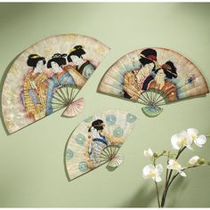 Asian Wall Decor Painted Fanchinese