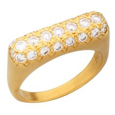Donald Huber Pave Diamond Yellow Gold 'Stack' Ring | From a unique collection of vintage diamonds.