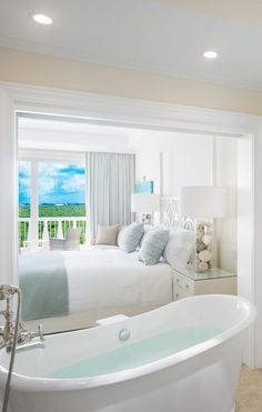 Soaking tub with a view - yes please.  The Shore Club Turks & Caicos