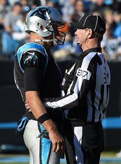 0d5e496d289b Carolina Panthers quarterback Derek Anderson talks with head linesman Jim  Howey (37) during a