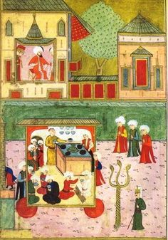 Miniature of a Street Coffee Stall, Circa taken from The Surname-i-Humayum (The Imperial Festival Book) C. Medieval Manuscript, Illuminated Manuscript, History Of Islam, Oriental, Islamic Art Calligraphy, Ottoman Empire, Museum, 16th Century, Indian Art