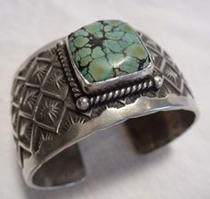 Vintage-NAVAJO-Michael-Thompson-Stamped-Sterling-Silver-TURQUOISE-BRACELET